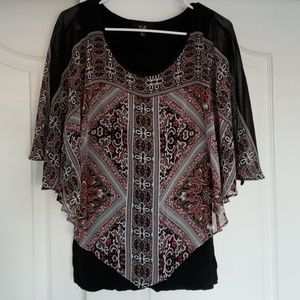 AGB Batwing Style W/Pointed Sheer Outter Top:Med